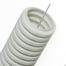 Труба гофрированная ПВХ 16мм с протяжкой серая (100м) (CTG20-16-K41-100I)