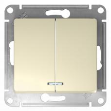GLOSSA Выключатель двухклавишный с подсветкой в рамку бежевый сх.5а