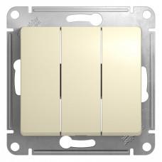GLOSSA Выключатель трехклавишный в рамку бежевый сх.3