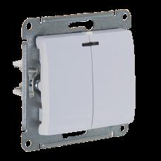 GLOSSA Выключатель двухклавишный с подсветкой в рамку белый сх.5а