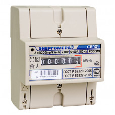 Счетчик электроэнергии CE101 R5 145 M6 однофазный однотарифный, 5(60), кл.точ. 1.0, D, ЭМОУ