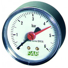 """Манометр 1/4"""" (торцевое соед.) , 0-10 бар, - 20-80 °C, O 63 мм"""