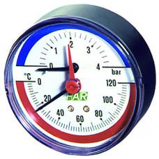 """Термоманометр 0-10 бар, 0-120 °C, 80 мм, торцевое соединение 1/2"""""""