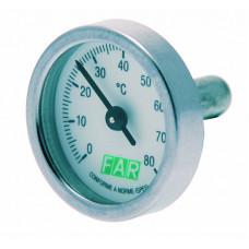 Термометр биметалический (без фиксатора) д/шаров.кранов, 0-120С